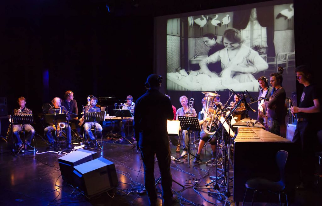 """The Flat Earth Society performing music to the film """"The Oyster Princess"""""""