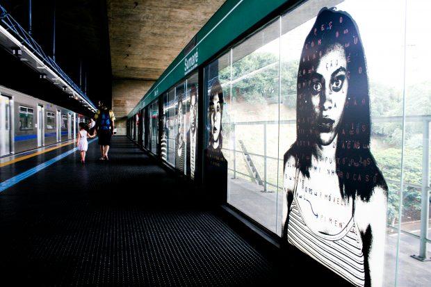 Estação de Metrô Sumaré - Plataforma. Foto por André Deak para o Arte Fora do Museu (http://www.arteforadomuseu.com.br)
