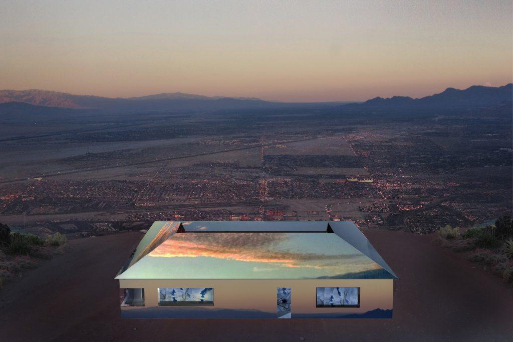 Instalação renderizada da instalação do artista Doug Aitken - Desert X.