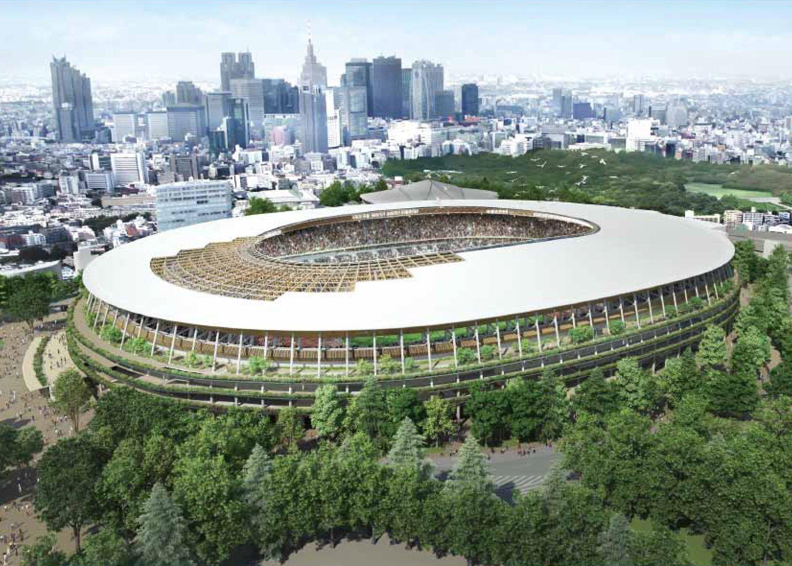 Projeto do Estádio Olímpico de Tóquio 2020, do arquiteto Kengo Kuma