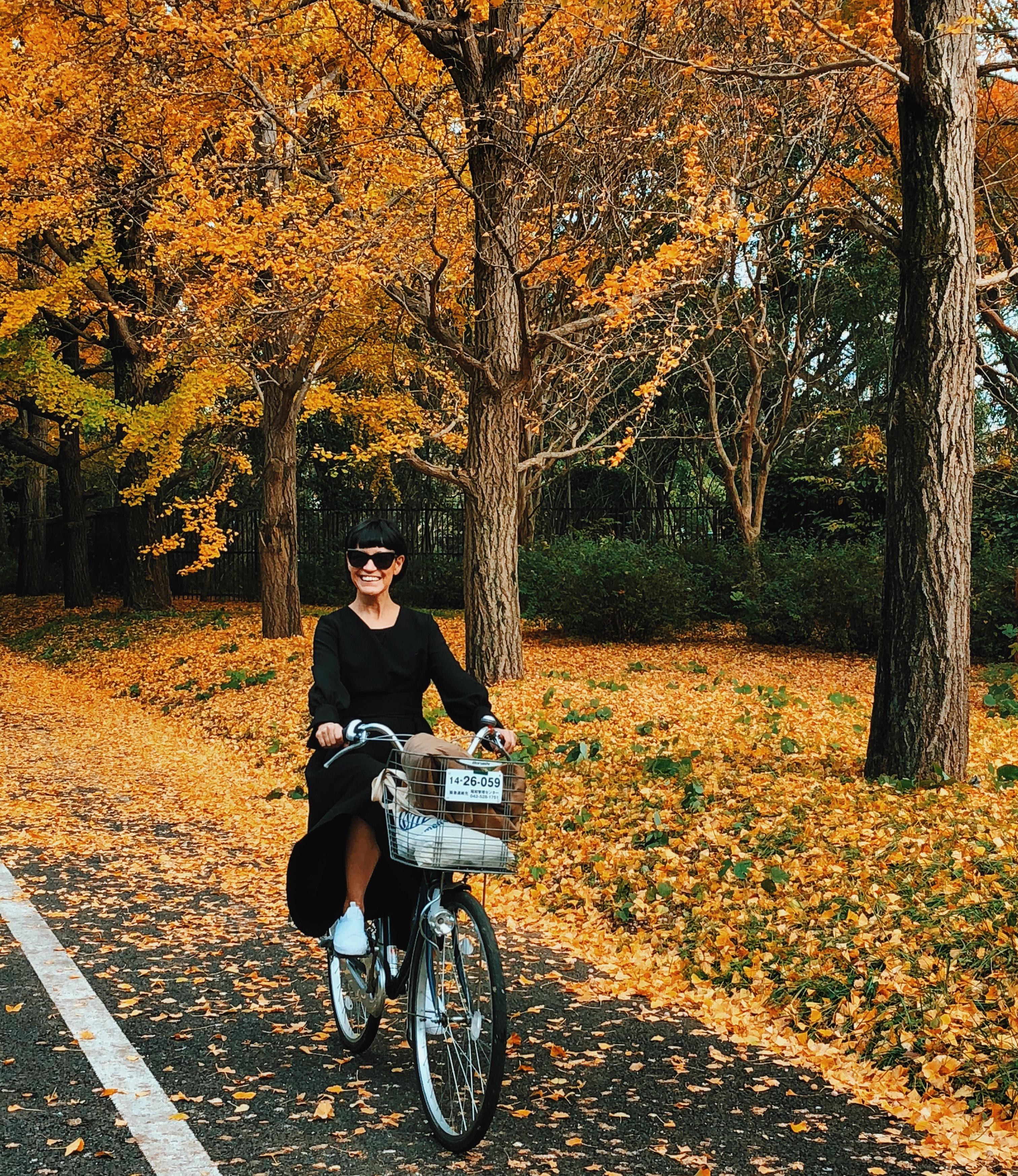 Passeando de bike em Tóquio.