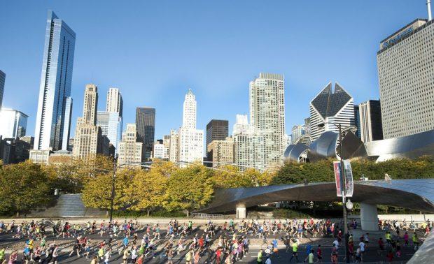 A largada e a chegada da Maratona de Chicago são no Grant Park