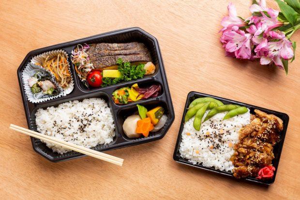 As duas opções de bento do Aizome Pop Up na Japan House. Foto: divulgação