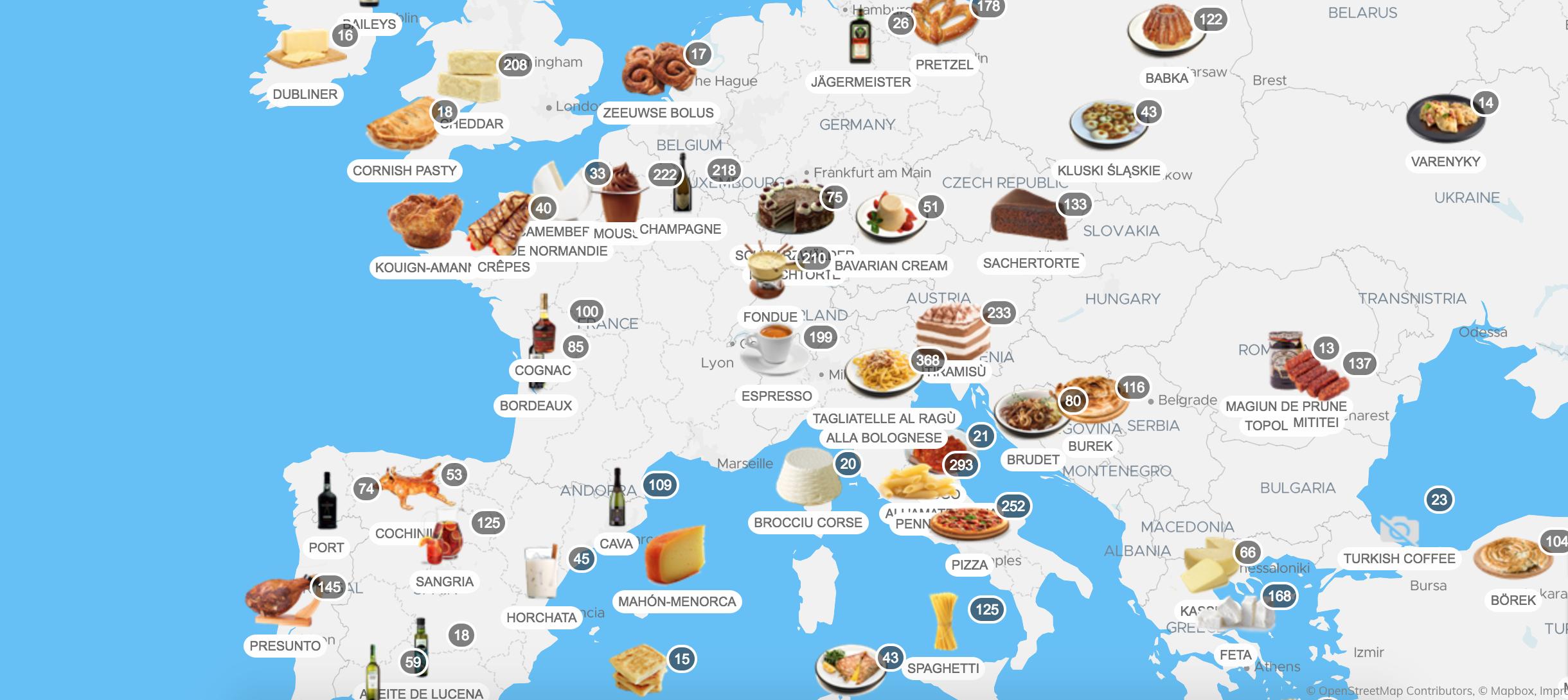 Taste Atlas, mapa de gastronomia